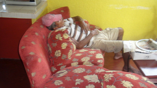 Lolo taking a snooze at our home in Guimaras