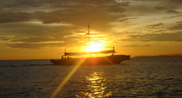 Sunset on the Iloilo Strait in the Philippines