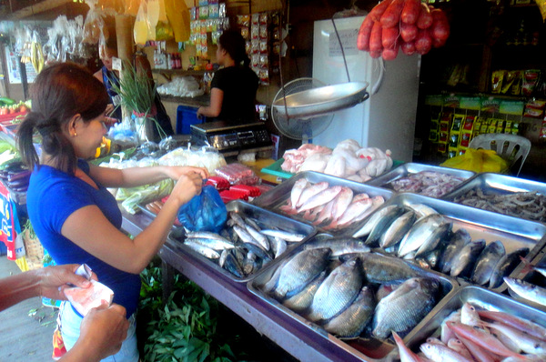Filipina sales clerk at Iloilo wet market