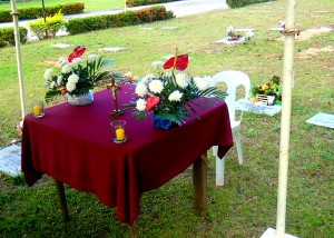 Mass was held outside at Guimaras Gardens Memorial Park