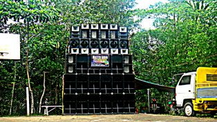 A tower of speakers at the Guimaras fiesta