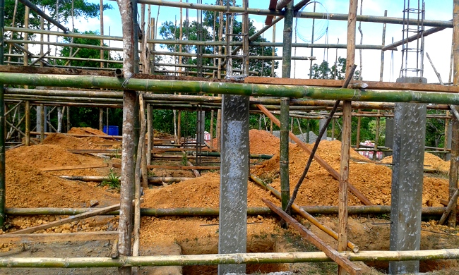 concrete support columns for our new house in guimaras