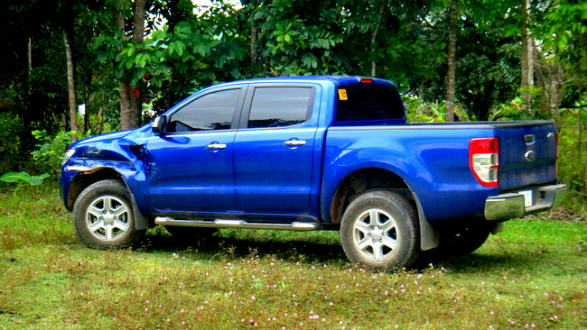 the damaged Ford Ranger XLT in the Philippines