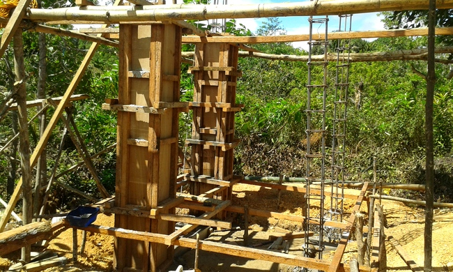 wooden frames to be used to pour concrete for new water tank