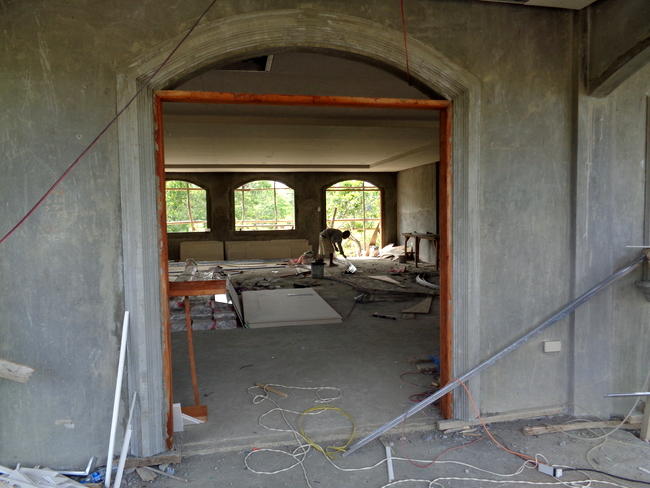 precast finished over front entry way