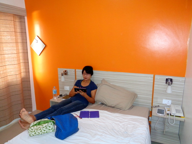 my lovely asawa relaxing in our beehive hideout in cebu