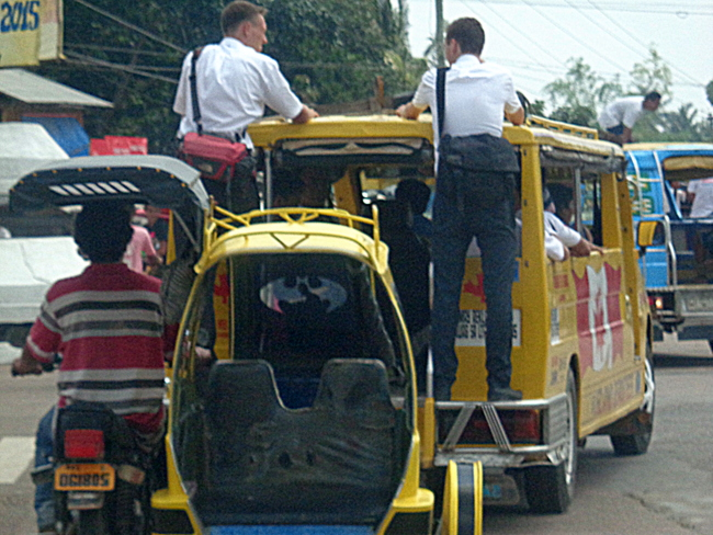 mormons in guimaras riding a jeepney