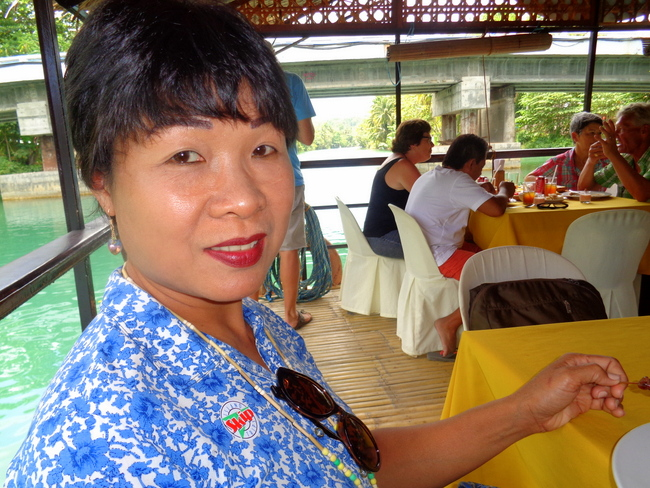 my lovely asawa on the loboc river cruise