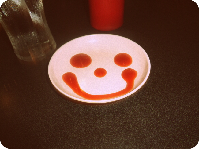 Happy Face ketchup at Johnny Rockets in Manila