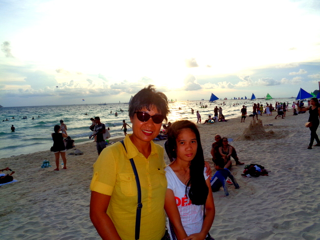 my lovely asawa and niece enjoying a sunset at boracay