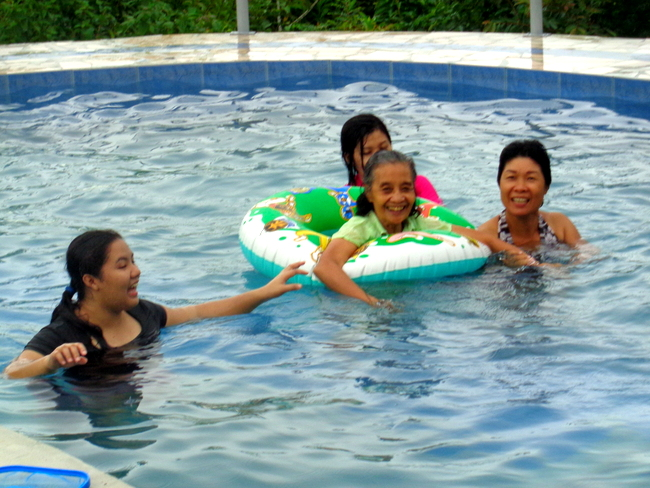 Lola goes for a swim in our new pool in the philippines