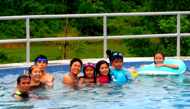 having a blast in our new pool in the philippines
