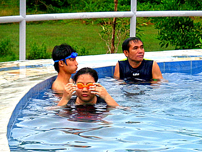 having fun in our new swimming pool in the philippines
