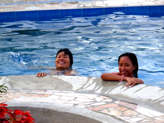 my lovely asawa and meracel in our new pool in the philippines