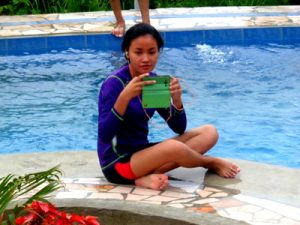 niece denden in our new swimming pool in the philippines
