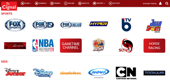 CIGNAL TV channels