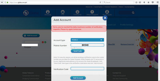 My Account globe