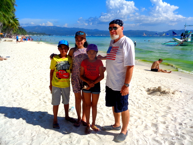 grumpy old expat and crew puka shell beach boracay