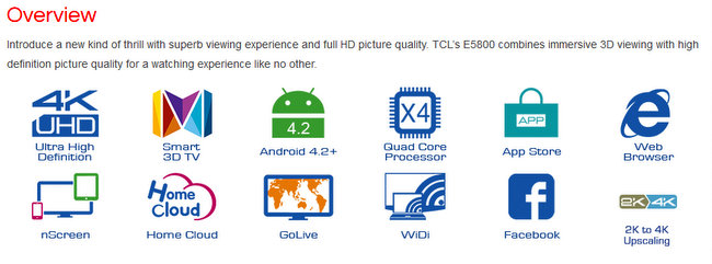 TCL inch TV features