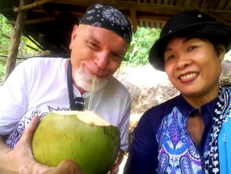 Having some buko juice at 6th Falls Mambukal - Mambukal Resort 7th Waterfalls Challenge