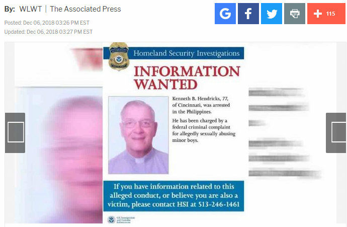 Cincinnati priest accused of sexually assaulting altar boys arrested in Philippines - American Priest Wanted for 50 Altar Boy Sexual Assaults Arrested in Philippines