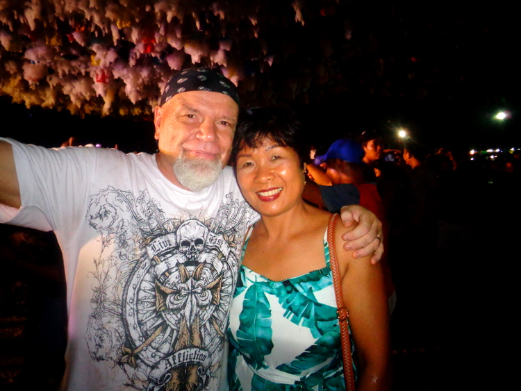 The Crusty Old Expat and my lovely asawa - 2019 Manggahan Festival's Fabulous Foam Party