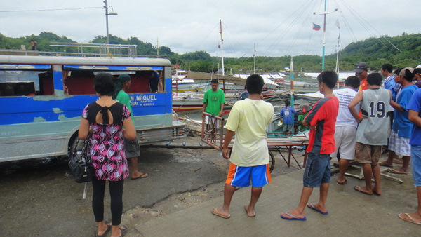 Our jeepney being backed up to The Tawash at Jordan Wharf in Guimaras