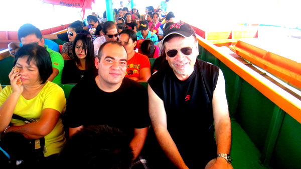 "Allen and ""The Kano"" on the pump boat to Guimaras"