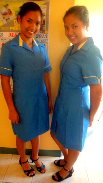 April and Michelle, Savemore uniforms