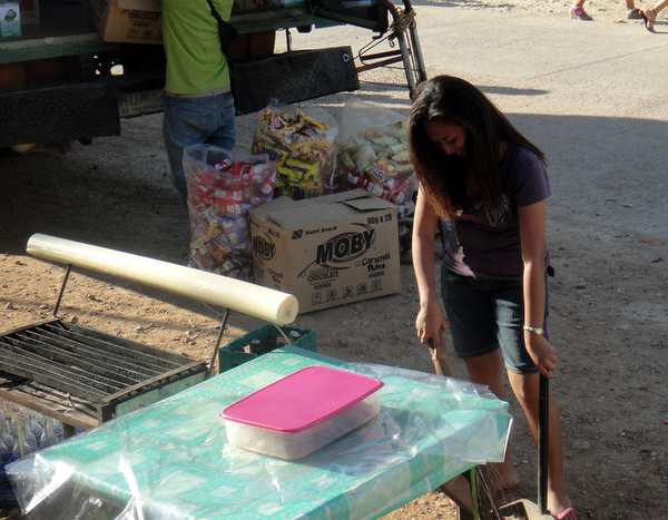 Sweeping up at the Jade Market in Guimaras