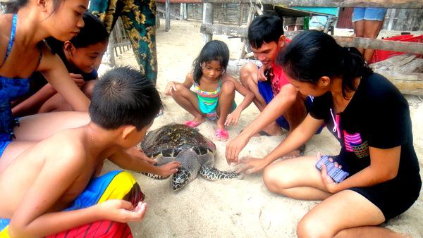 Jorreal pets the turtle