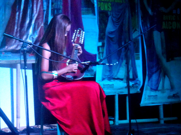 Maria Gange on stage during talent night