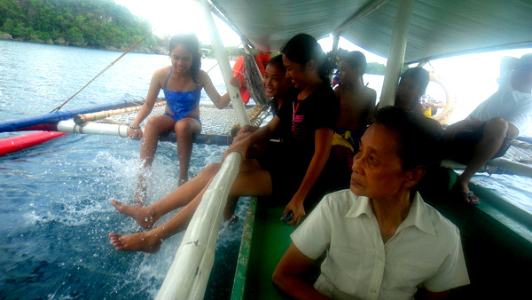 Shaina and the crew on the pump boat