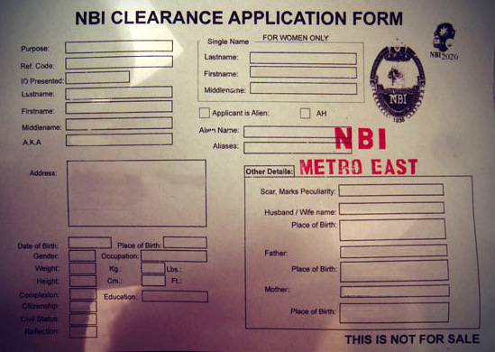 NBI Clearance Form Philippines