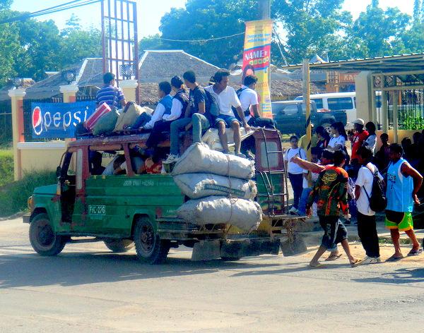 crowded jeepney in Guimaras