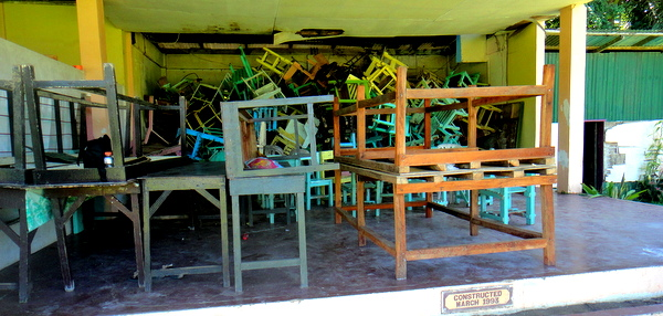 Pile of chairs at Guimaras H.S.