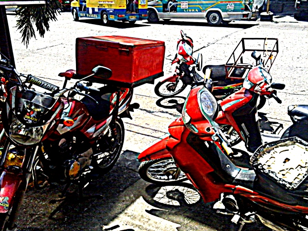 McDonalds motorcycle delivery at MaryMart in Iloilo