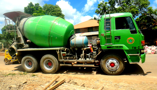 concrete truck used at construction site in guimaras