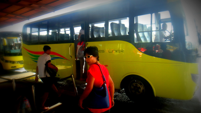 boarding the ceres bus at the north terminal in bacolod city
