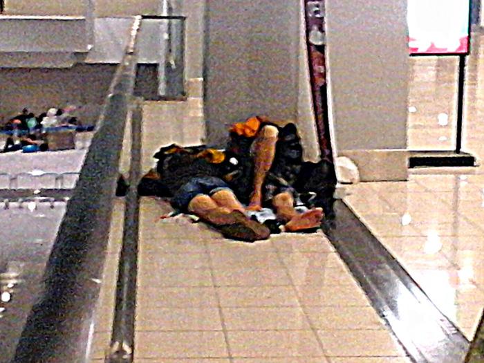 sleeping at Terminal 3, NAIA