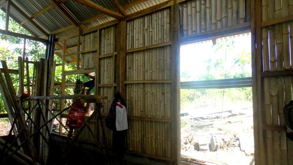 bamboo walls of the nipa hut