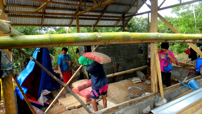 crew at work at our nipa hut in the philippines
