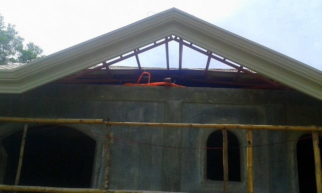 only one gable to and the new roof will be completed