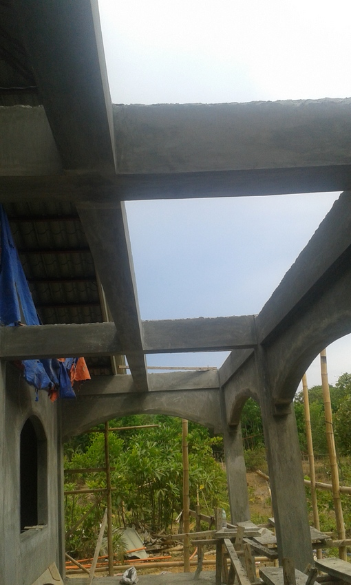terrace facing the nipa hut