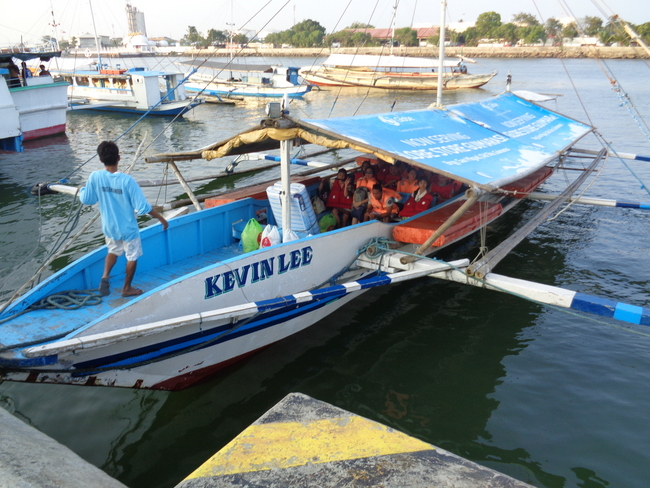 motorized banca boat at parola dock iloilo