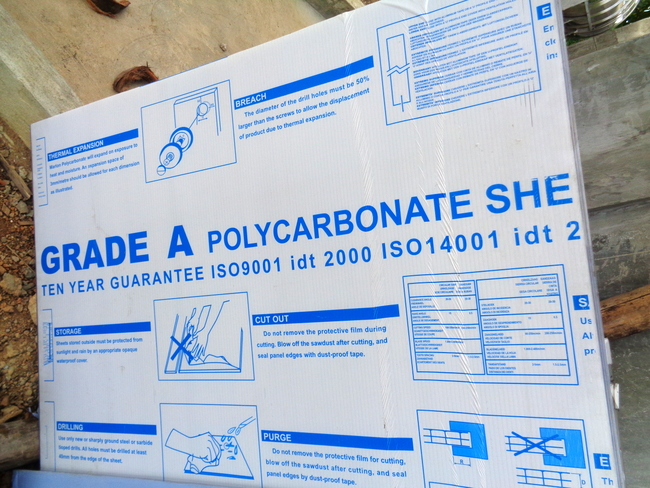 polycarbonate sheeting for our roof terrace in the philippines