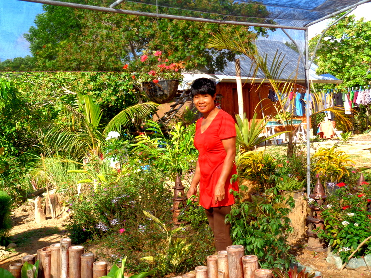 my lovely asawa in our new garden in the Philippines