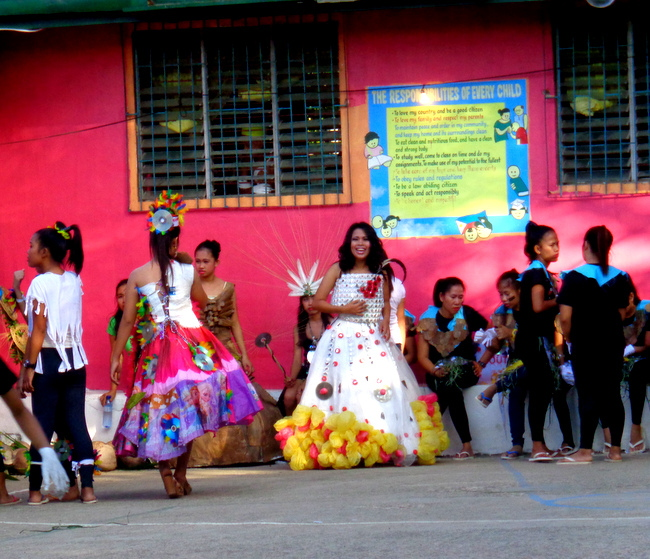 recycled materials used for gown at guimaras fiesta