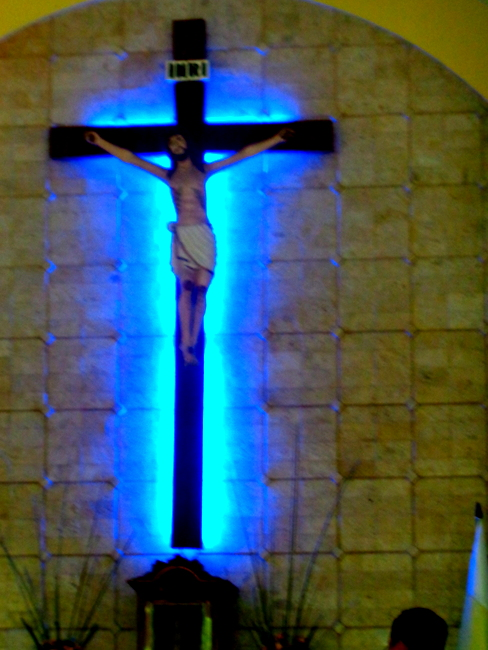 the neon blue Jesus