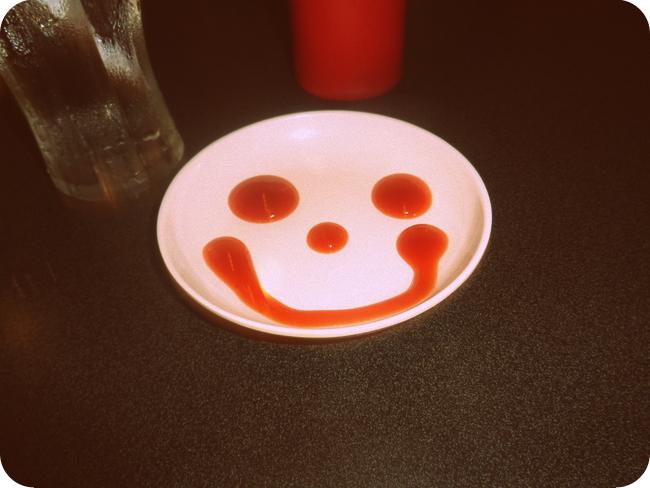 Happy Face ketchup at Johnny Rockets in Manila